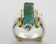 Ring | Wexford Jewelers Designs.  Natural tourmaline crystal, diamonds, 18k gold and sterling silver