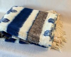 Guatemala  Traditional 100% Wool Blanket  Blue and by PIDcrafts