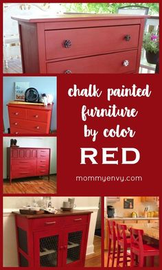 Chalk Painted Furniture by Color Series - Red Chalk Paint | I love red! These red painted pieces are making a big impact! www.mommyenvy.com