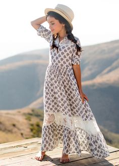 This beautiful maxi-style dress in Blue Leaf is made with a lightweight woven material with a unique print, comfortable elastic at the sleeves, a side zipper, and fully lined. Features delicate lace panels in the front and back neckline and the hem of the Outfits Niños, Petite Outfits, Cute Girl Outfits, Little Girl Dresses, Kids Outfits, Girls Dresses, Fashion Outfits, Tween Fashion, Baby Girl Fashion