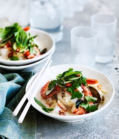 Australian Gourmet Traveller recipe for fast coconut-poached prawns, rice noodles and Asian herb salad.