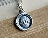 Tiny Heart Wax Seal Necklace in eco friendly fine silver,  silver heart charm pendant jewelry