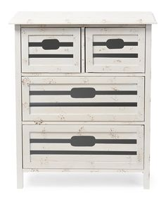 Baxton Studio Rococco Whitewashed Vintage Four Drawer Cabinet
