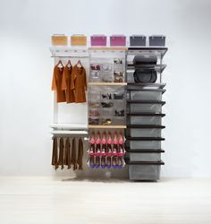 Organise your wardrobe with elfa® and you will be surprised with how much room you really have. Available from Howards Storage World.
