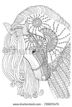 Sketch for anti-stress adult coloring book in zen-tangle style. Vector illustration for coloring page. Horse Coloring Pages, Mandala Coloring Pages, Colouring Pages, Adult Coloring Pages, Coloring Sheets, Coloring Books, Free Coloring, Horse Sketch, Horse Drawings