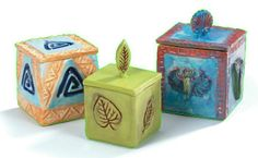 """""""Textured Pottery Boxes"""" art lesson plan by Mayco for grades 4-12. Students will stamp and sprig a square clay box with lid created using a plus-shaped template. Students will explore the history of stamping techniques in pottery making."""