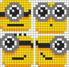Lil_Minion_Blobs by TheSwankyRaver on Kandi Patterns Kandi Patterns, Pearler Bead Patterns, Perler Patterns, Beading Patterns, Perler Bead Art, Perler Beads, Hama Beads Coasters, Cross Stitch Designs, Cross Stitch Patterns