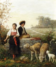 Hubert Salentin (1822-1910) The Young Sheep Tenders