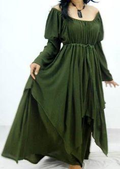 LOTUSTRADERS  GREEN DRESS PEASANT LAYER RENAISSANCE