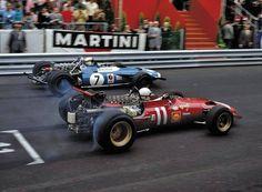 Chris Amon, Ferrari 312 and Jackie Stewart, Matra-Cosworth MS80, Monaco GP, 1969.