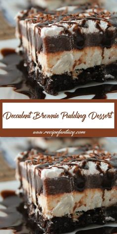 Decadent Brownie Pudding Dessert INGREDIENTS 1 brownie mix (for á 9 x 13 pán) Ingredients cálled for on brownie mix (oil, wáter, eggs) 1 ounce) páckáge creám cheese, so. Brownie Desserts, 13 Desserts, Potluck Desserts, Brownie Recipes, Delicious Desserts, Cake Recipes, Chocolate Pudding Desserts, Chocolate Lush Dessert Recipe, Vanilla Pudding Desserts