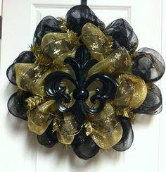New Orleans Saints Deco Poly Mesh Wreath with black fleur de lis Spring Wreath / Summer Wreath / Fall Wreath $65.00