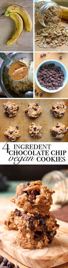 Looking for a healthy snack that is quick, easy, and delicious? These Vegan Chocolate Chip Peanut Butter Cookies are made with just 4 healthy ingredients AND can be thrown together in minutes. Click through to get the recipe and whip up a batch today!