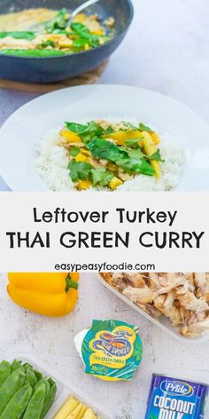Leftover Turkey Thai Green Curry Want a super easy, totally delicious meal that is totally different from the usual leftover turkey recipes? Why not try my Leftover Turkey Thai Green Curry? Lunch Box Recipes, Entree Recipes, Easy Dinner Recipes, Easy Meals, Healthy Recipes, Fast Recipes, Curry Recipes, Rice Recipes, Healthy Meals