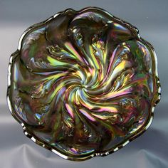 "ACANTHUS ~ UNMARKED IMPERIAL SMOKE CARNIVAL GLASS 8"" BOWL"