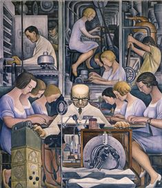 """Detroit Industry,"" south wall (detail), Diego Rivera, 1932-33, fresco. Detroit Institute of Arts (pharmaceutics)."