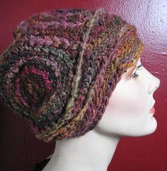 Sangria Nodule- freeform crochet hat OOAK