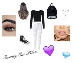 """""""twenty one pilots"""" by last-dolan ❤ liked on Polyvore featuring WithChic, Converse and Moschino"""