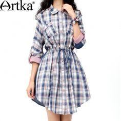 Платье-рубашка на кулиске из ткани в клетку