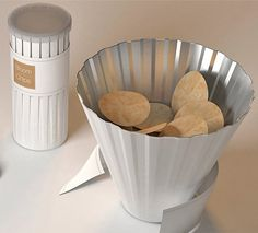 Packaging canister that expands to a bowl. Great idea