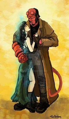 Hellboy and Liz by Dralamy on DeviantArt Comic Book Characters, Comic Books, Fictional Characters, Hellboy Liz, Liz Sherman, Superhero Movies, Pencil Art Drawings, We Fall In Love, Movie Costumes