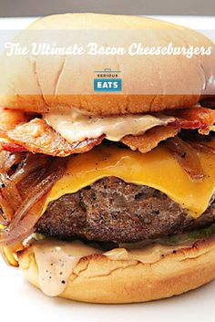 The ultimate bacon cheeseburger with beef cooked in bacon fat, a bacon fat mayonnaise, onions caramelized in bacon fat, buns toasted in bacon fat, and a crisp bacon weave topping.