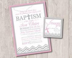 Free Printable Baby Boy Baptism Invitations | Printable : Baby girl baptism invitations with rosary & FREE matching ...