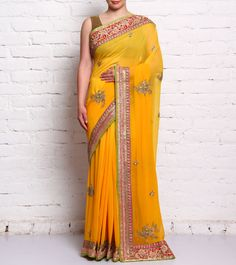 Yellow Embroidered Georgette Saree #ethnicwear #saree #embroidered #georgette #summer #indianroots