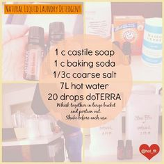 DIY Natural Liquid Laundry Detergent--I would definitely use Young Living oils instead of doTerra. Laundry Detergent Recipe, Natural Laundry Detergent, Essential Oils For Laundry, Doterra Essential Oils, Cleaners Homemade, Diy Cleaners, Household Cleaners, Natural Cleaners, Natural Cleaning Products