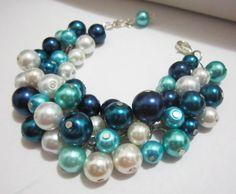 Wedding Bracelet Blue Bridesmaid Bracelet Cluster by SLDesignsHBJ