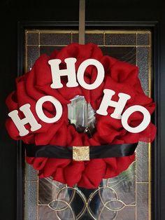 Christmas Burlap Wreath by GraceRyanBoutique on Etsy creative wreaths, christmas wreaths burlap, christma burlap, diy idea, burlap football wreaths, diy burlap wreath, christmas burlap wreaths, wreath diy burlap, christmas burlap wreath diy