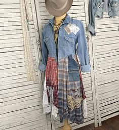 """This piece is part of my """"Prairie Chic"""" Collection: Western Inspired Clothing in """"Frontier Days meet Hippie Style""""… lots of denim, lace, ruffles and flannel… Most garments are antiqued, hand dyed and tattered for that time-worn look… Awesome Desert Sun Faded Colors in this upcycled"""