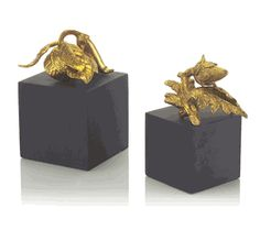 Limited Production Design: Brass Pepper & Artichoke Bookends * Click Image For Full Screen View