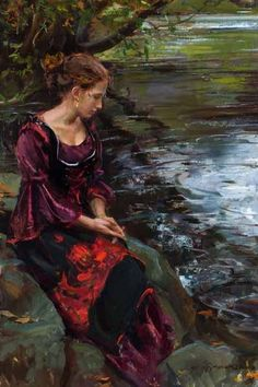 (Streamside by Daniel F Gerhartz) This image touches my heart. You see, I have similar clothes than this Lady wearing in this image. I will definitely go some Beautiful spring day and ask my friend to take image of me in similar position! Woman Painting, Painting & Drawing, Illustration Art, Illustrations, Mystique, Wow Art, Fine Art, Beautiful Paintings, Great Artists