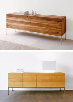 From simple Scandinavian storage to quirky statement credenzas, we've selected our favourite sideboards to help you find the perfect match for your home. Living Room Tv Unit Designs, Interior Design Living Room, Custom Furniture, Furniture Design, Wood Furniture, Rack Tv, Home Goods Decor, Home Decor, Tall Sideboard