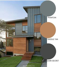 grey exterior house colors These modern exterior paint colors are perfect for your home. The best resource for modern color schemes that will look good on any home exterior. Design Exterior, Grey Exterior, Modern Exterior, Exterior Shades, Grey Siding, Black House Exterior, Wood Siding, Vinyl Siding, Interior And Exterior