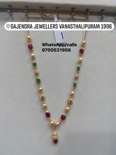 <br> vanasthalipuram ngos colony opposite to kotak mahindra bank. Antique Jewellery Designs, Gold Jewellery Design, Bead Jewellery, Gold Necklace Simple, Gold Jewelry Simple, Emerald Jewelry, Pearl Jewelry, Pendant Jewelry, Gold Pendant
