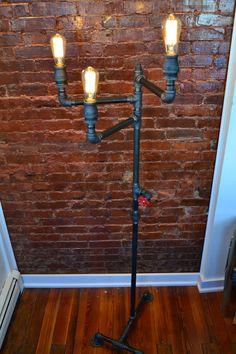 Industrial Steampunk Floor Lamp Steel Pipe by WestNinthVintage