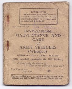 Maintenance booklet 1943 Motorcycle Shop, British Motorcycles, Army Vehicles, Pre And Post, Booklet, Ariel, Amazing
