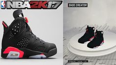 3e4894937e3eef NBA 2K17 Shoe Creator Air Jordan 6 Black Infrared - YouTube Gaming