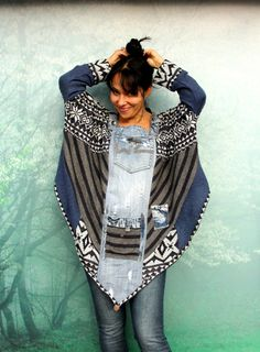 M-XL Crazy Jeans und Pullover Patchwork-Poncho recycelt Hippie Boho-Stil Mehr