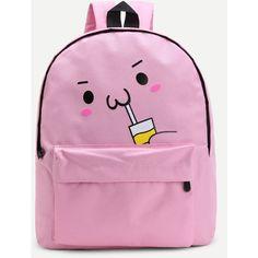 Comic Print Canvas Bookbag ($20) ❤ liked on Polyvore featuring bags, comic book, pink canvas bag, comic bag, handle bag and cartoon bag