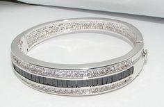 Contemporary Art Deco Revival Rhinestone Bangle Bracelet Hinged Costume Jewelry | eBay sold