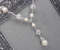 Pearl and Rhinestone Bridal Y Drop Necklace, Wedding Necklace for Sweetheart Neckline, Pearl Pendant Necklace