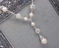 Pearl and Rhinestone Bridal Y Drop Necklace by LizardiBridal, $63.00