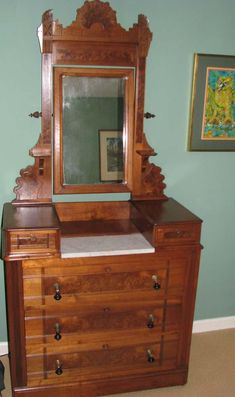 Classic Victorian Marble Top Vanity Dresser W Ornate