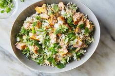 Salmon and Couscous Salad With Cucumber-Feta Dressing Recipe - NYT Cooking Salmon Salad, Couscous Salad Recipes, Persian Cucumber, Most Popular Recipes, Favorite Recipes, 30 Minute Meals, Fish Recipes, Entrees, Salads