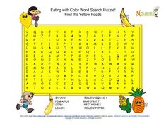 Fun 8 word search puzzle the promotes the healthy fruits and vegetables that color your plate with yellow.