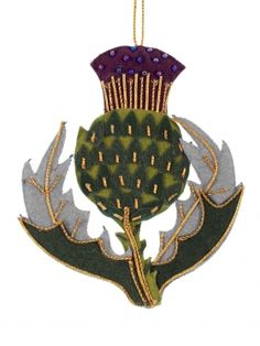 Felt Thistle Scottish Christmas Decoration. I MUST have this to put on my Christmas tree :)