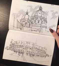Architecture Student Revives the Magic of Architectural Hand Sketching Through T. - Architecture Student Revives the Magic of Architectural Hand Sketching Through These Marvelous Sket - Architecture Drawing Sketchbooks, Building Sketch, Colossal Art, Hand Sketch, Architecture Old, Architecture Journal, Architecture Diagrams, Urban Sketching, Art Sketchbook